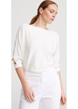 Reserved - Sweter z wycięciami na rękawach - Kremowy Reserved   - kod rabatowy