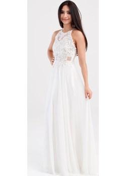 Długa sukienka z koronką z cyrkoniami Ecru   Butik Ecru - kod rabatowy