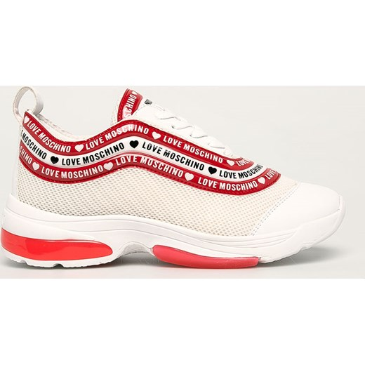 Sneakersy damskie Love Moschino białe wiązane sportowe ze skóry ekologicznej