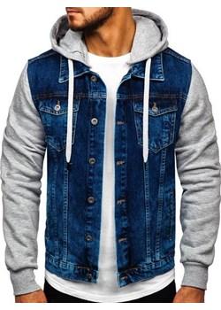 Kurtka jeansowa męska z kapturem granatowa Denley 211902  Denley okazyjna cena   - kod rabatowy