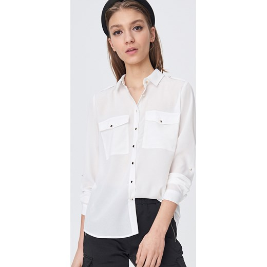 Koszula damska Sinsay z kołnierzykiem biała bez wzorów z  yv2WJ