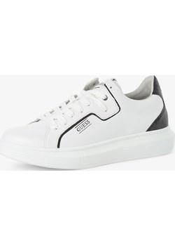 Guess Jeans - Męskie tenisówki ze skóry, biały Guess Jeans  vangraaf - kod rabatowy