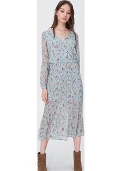 Sinsay - Szyfonowa sukienka z kwiatowym wzorem - Turkusowy Sinsay   - kod rabatowy