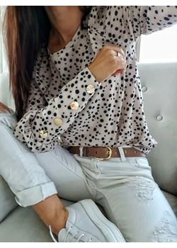 Elegancka bluzka ze złotymi guzikami - beżowa  L'Amour L'amour Boutique - kod rabatowy
