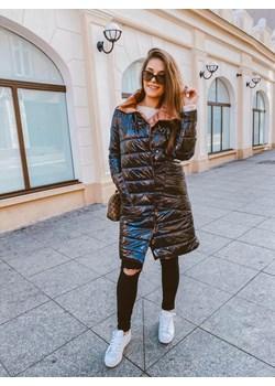 Płaszcz pikowany nabłyszczany czarny  L'Amour okazyjna cena L'amour Boutique  - kod rabatowy