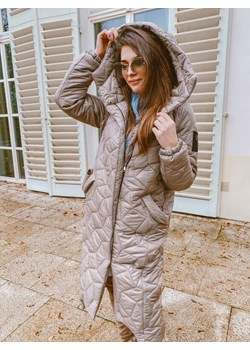Płaszcz pikowany z kaputrem beżowy  L'Amour okazja L'amour Boutique  - kod rabatowy
