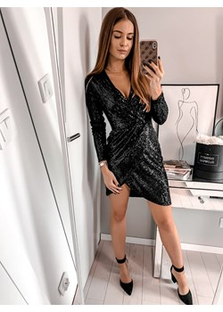 Sukienka kopertowa na zakładkę cekiny czarna  L'Amour okazja L'amour Boutique  - kod rabatowy