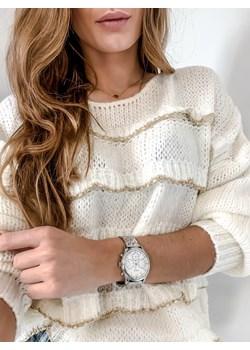 Sweter złota nitka z falbankami L'Amour  promocyjna cena L'amour Boutique  - kod rabatowy