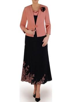 Granatowa sukienka z łososiowym żakietem, modna kreacja na wesele 24749 Modbis   - kod rabatowy
