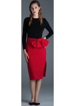 Ołówkowa czerwona spódnica z kokardą Ola Melcer Ola Melcer - kod rabatowy