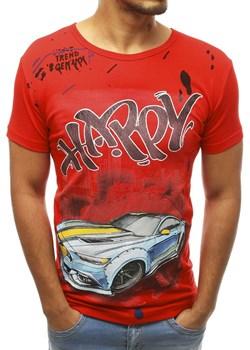 T-shirt męski z nadrukiem czerwony RX3755  Dstreet wyprzedaż   - kod rabatowy