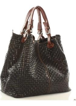 Skórzana torebka shopper MAZZINI - LINDA czarna  Merg promocja merg.pl  - kod rabatowy