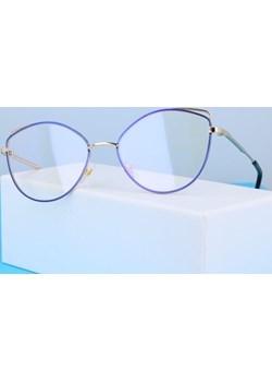Okulary zerówki DAMSKIE kocie oczy z antyrefleksem Blue 2527-1   Stylion - kod rabatowy
