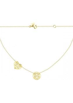 Złoty naszyjnik celebrytka z ażurowym kółkiem i sercem Hosa   - kod rabatowy