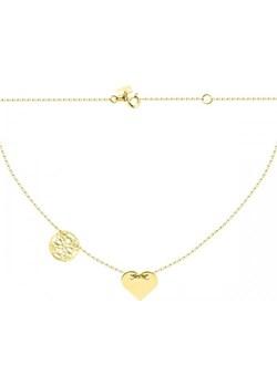 Złoty naszyjnik celebrytka z ażurowym kółkiem i pełnym sercem  Hosa  - kod rabatowy