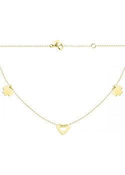 Złoty naszyjnik celebrytka trójelementowa z wyciętym sercem Hosa   - kod rabatowy