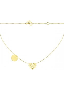 Złoty naszyjnik celebrytka z ażurowym sercem i pełnym kółkiem Hosa   - kod rabatowy