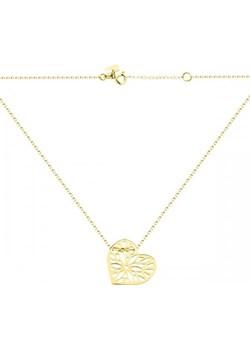 Złoty naszyjnik celebrytka z dużym ażurowym sercem Hosa   - kod rabatowy
