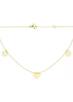 Złoty naszyjnik celebrytka trójelementowa z sercem Hosa   - kod rabatowy
