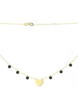 Złoty naszyjnik celebrytka choker z czarnymi cyrkoniami i sercem  Hosa  - kod rabatowy
