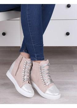 Pudrowe botki damskie, wysokie sneakersy, tenisówki na koturnie - Obuwie F219  Damle okazyjna cena damle.com.pl  - kod rabatowy