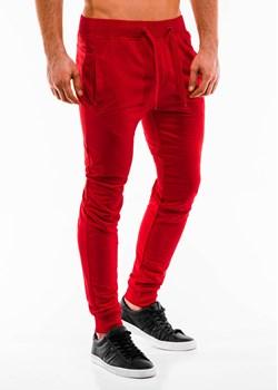 Spodnie męskie dresowe 911P - czerwone Edoti.com   - kod rabatowy