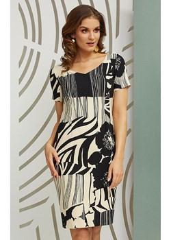 Sukienka Cynia w kolorze czarno ecru marki Kaskada  Kaskada sklepcdn.pl - kod rabatowy