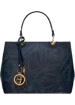 Damska skórzana torebka do ręki Glamorous by GLAM - granatowy Glamorous By Glam Glamadise.pl - kod rabatowy