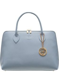 Damska skórzana torebka do ręki Glamorous by GLAM - niebieski Glamorous By Glam Glamadise.pl - kod rabatowy