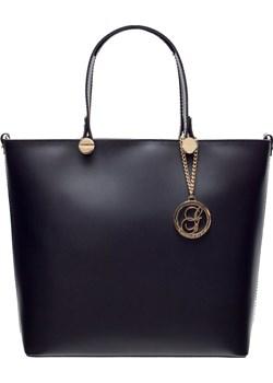 Damska skórzana torebka do ręki Glamorous by GLAM - czarny Glamorous By Glam Glamadise.pl - kod rabatowy