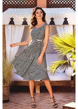 Sukienka asymetryczna w kolorze czarno białym SK1570 Francesca Antonucci  sklepcdn.pl - kod rabatowy