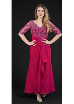 Długa sukienka z rękawkiem 3/4 amarantowa Rokado   - kod rabatowy