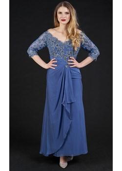 Długa sukienka z rękawkiem 3/4 niebieska Rokado   - kod rabatowy
