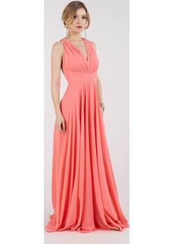 Sukienka zwiewna na wesele łososiowy Rokado   - kod rabatowy