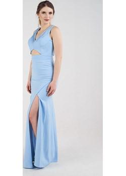 Sukienka długa dopasowana z rozcięciami niebieska Rokado   - kod rabatowy