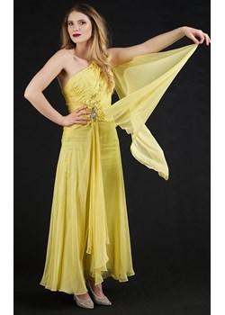 Sukienka długa z woalem żółta  Rokado  - kod rabatowy