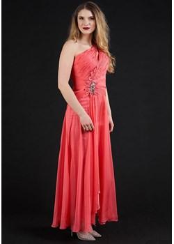 Sukienka długa z woalem ciemny łosoś Rokado   - kod rabatowy