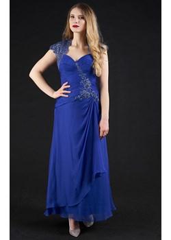Sukienka długa z rękawkiem kobaltowa Rokado   - kod rabatowy