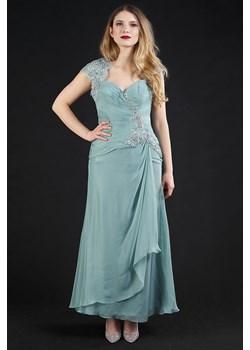 Sukienka długa z rękawkiem miętowa Rokado   - kod rabatowy