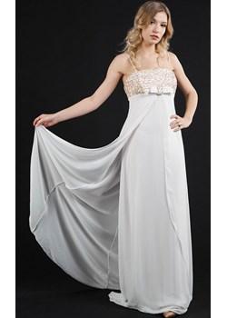 Sukienka długa trapezowa ecru Rokado   - kod rabatowy