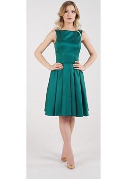 Sukienka krótka odkryte plecy butelkowa zieleń  Rokado  - kod rabatowy