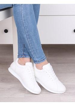 Lekkie białe sportowe buty damskie, wygodne klasyczne sznurowane - Obuwie L310 Damle damle.com.pl promocyjna cena - kod rabatowy