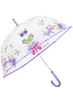 Przezroczysta automatyczna parasolka z nadrukiem motyla Perletti  ParasoleDlaCiebie.pl - kod rabatowy
