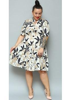 Sukienka szmizjerka rozpinana letnia z falbankami OLENA wiskoza ecru w granatowo - beżowe liście   karko.pl - kod rabatowy