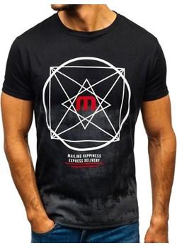 T-shirt męski z nadrukiem czarny Denley 10887  Denley promocja   - kod rabatowy