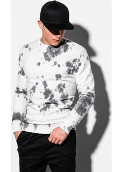 Bluza męska bez kaptura z nadrukiem B1044 - biała  Ombre  - kod rabatowy