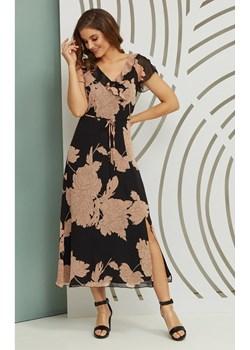 Zwiewna sukienka Persefona w kolorze czarnym z kwiatami w kolorze brudnego różu  Kaskada sklepcdn.pl - kod rabatowy