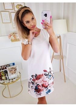 Sukienka Flower Biała Fashionyou   - kod rabatowy
