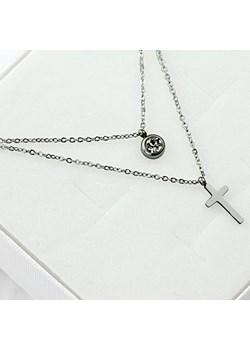 Naszyjnik stali chirurgicznej – Srebrny Podwójny Naszyjnik Krzyż  Shena Shena.pl - kod rabatowy