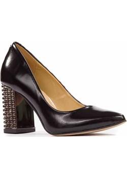 Czarne czółenka na stabilnym obcasie   wyprzedaż Lewski shoes  - kod rabatowy